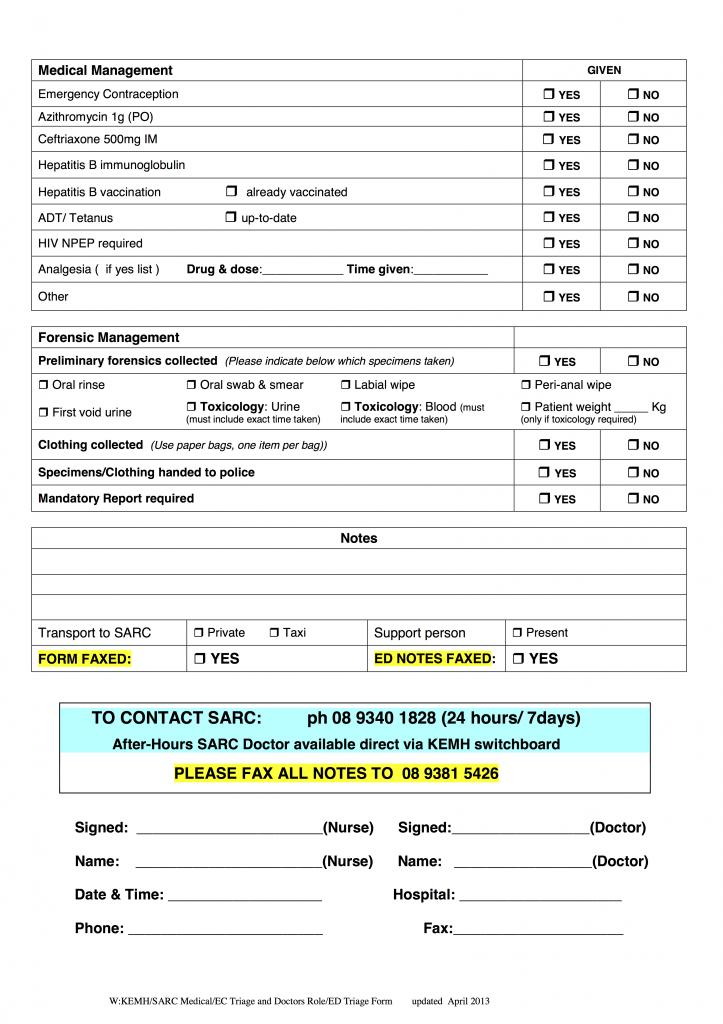 SARC ED Triage Form page 2