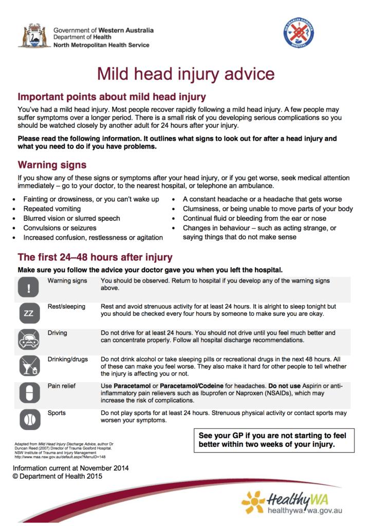 SCGH - Minor head injury advice factsheet 1