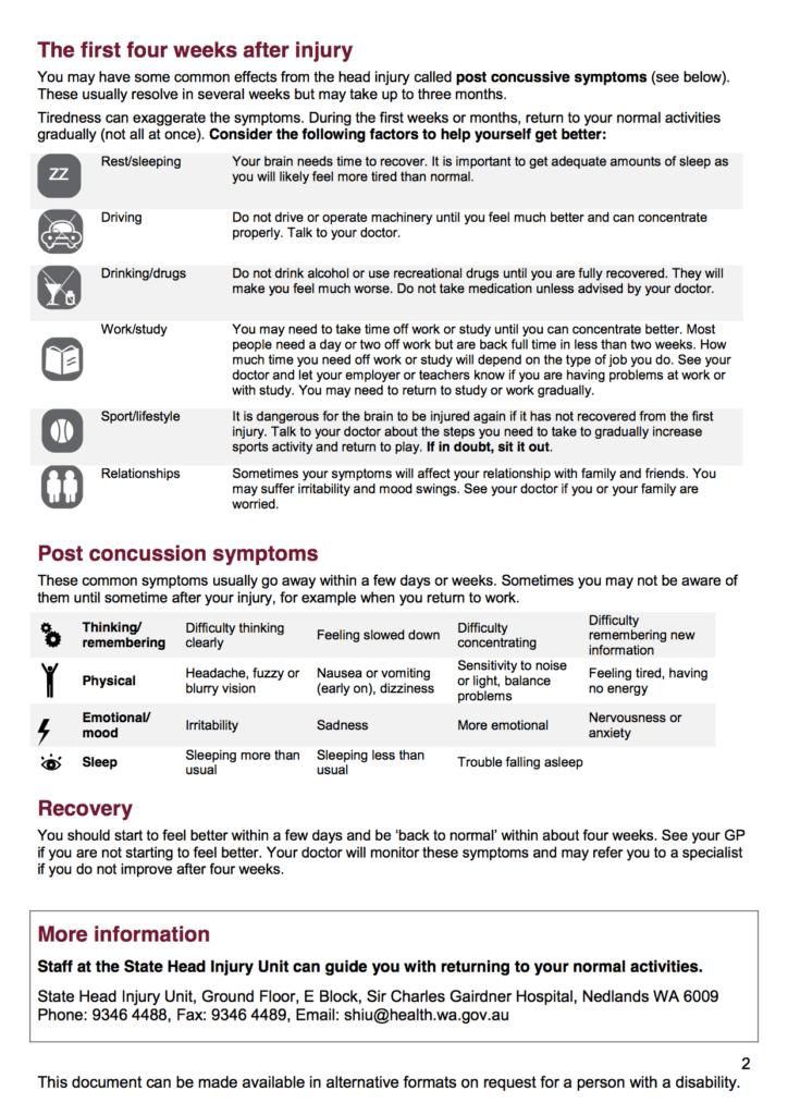 SCGH - Minor head injury advice factsheet 2